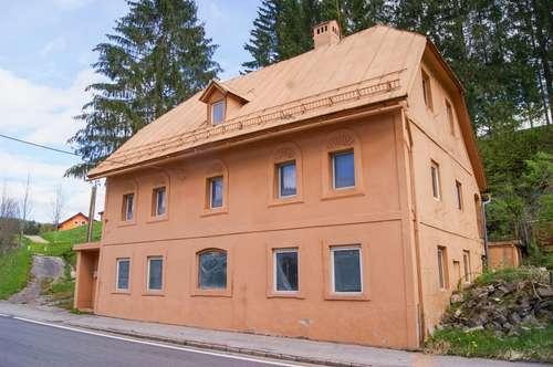 """Sanierungsbedürftiges ehemaliges Gasthaus nahe Mariazell. - Günstiger Einstieg für """"Selbermacher"""" mit viel Grund."""