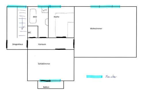 PRIVAT! im Zentrum ruhige 2 Zi mit Balkon