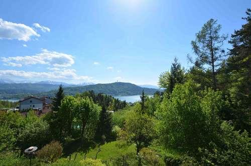 Seeblick Residenz über dem Wörthersee mit großem Grundstück