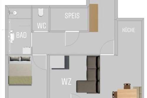 Vollmöblierte 2-Zimmerwohnung mit Loggia und Holzofen ab 1.4.19
