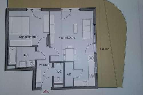 Neubau-Erstbezug Green City West / Top 2-Zimmer-Wohnung (57,31 m²) mit großem Balkon