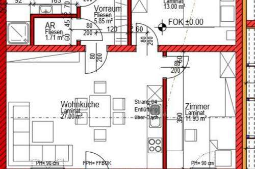 3-Zimmer-Wohnung, 65,77 m² - Erstbezug