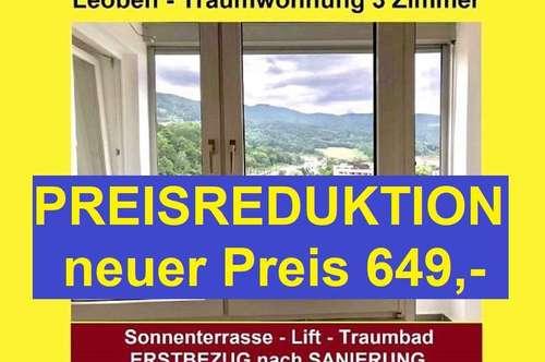 LEOBEN Innenstadt - PROVISIONSFREIE 3 Zimmer mit Balkon, WG geeignet
