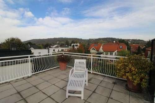 Traumhafter Ausblick von 33m² herrlicher Terrasse in eleganter Maisonettewohnung
