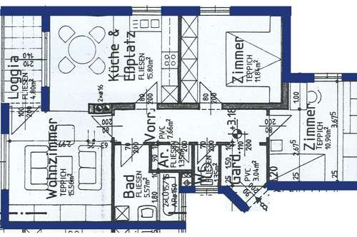 Michelhausen. Geförderte 3 Zimmer Wohnung | Loggia | Miete.
