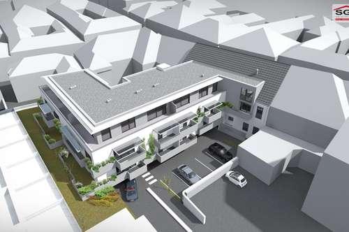 Provisionsfreier Erstbezug:Geförderte 3- Zimmer Dachgeschoss-Wohnung in der Innenstadt mit 2 Garagenstellplätze/Balkon und mit Miete-Kaufoption