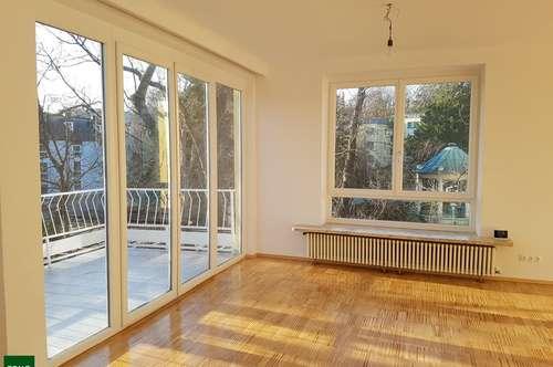 Erstbezug nach Generalsanierung : Lebenslust und purer Genuss : Drei-Zimmer-Wohnung mit zwei Terrassen nahe Schloss Pötzleinsdorf !