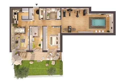 3-Zimmer Neubau-Wohnung mit Garten und großem Hobbyraum (Top W04)