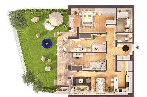 Provisionsfreie hochwertige 4-Zimmer Neubau-Gartenwohnung (Top W01)