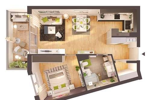Provisionsfreie exklusive 2-Zimmer Neubau-Wohnung mit Balkon (Top W06)