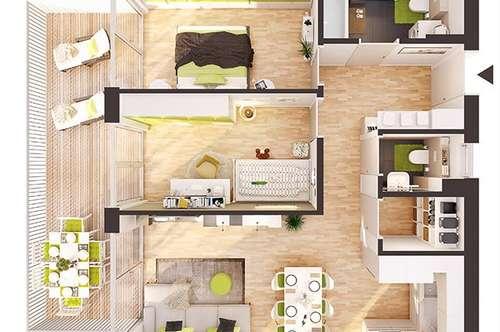 Provisionsfreie 3-Zimmer Neubau-Wohnung mit Balkon (BW07)