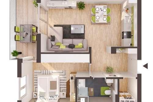 Baurecht: 2-Zimmer Neubau-Wohnung mit Balkon (BW11)
