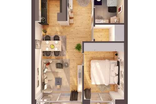 Provisionsfreie 2-Zimmer Penthousewohnung mit Balkon, Neubau! (Top W12)