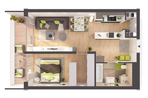 Provisionsfreie 2- Zimmer Neubau-Wohnung im Erdgeschoss