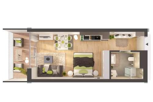 Provisionsfreie 1-Zimmer Neubau-Wohnung im Erdgeschoss