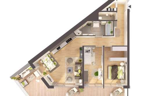 Provisionsfreie 3-Zimmer Neubau-Wohnung mit großzügiger Terrasse