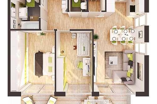 Provisionsfreie 3-Zimmer Neubau-Wohnung mit Balkon (AW04)