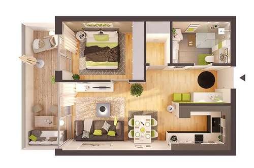 Provisionsfreie exklusive 2-Zimmer Neubau-Wohnung mit Balkon (Top W08)