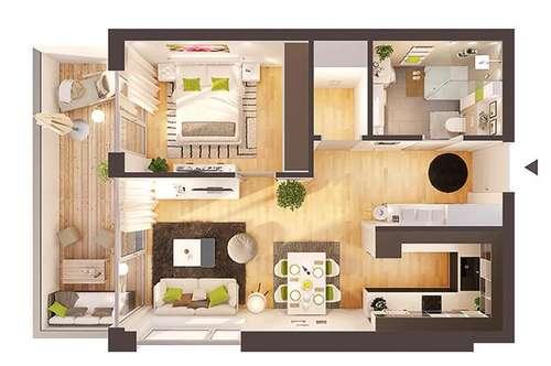 Provisionsfreie hochwertige 2-Zimmer Neubau-Wohnung mit Balkon (Top W09)
