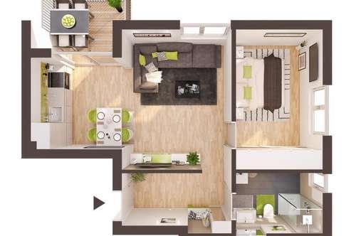 Baurecht: 2-Zimmer Neubau-Wohnung mit Balkon (BW08)