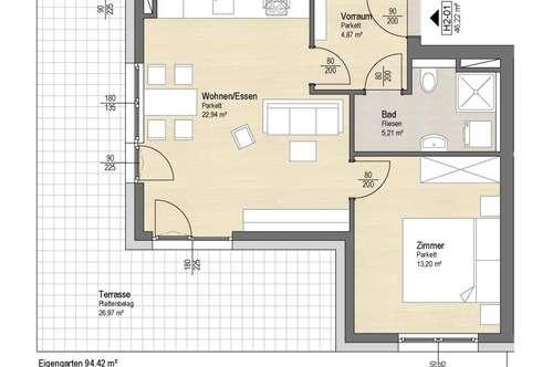 Sehr schöne, helle 2 Zimmer Neubauwohnung mit Eigengarten - Seenähe