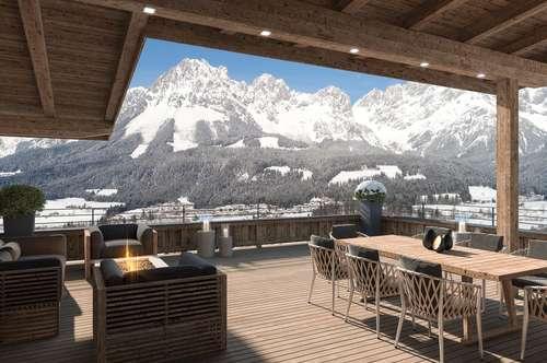 Kaiserlodge - direkt an der Skipiste mit fantastischem Ausblick auf das Bergmassiv Wilder Kaiser