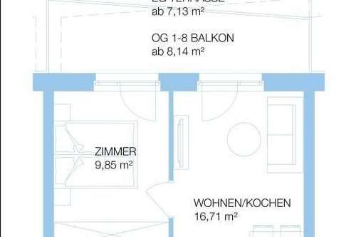 Neubau: 2 Zimmer Gartenwohnung