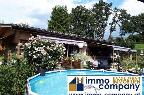 Ein romantisches Mobilheim mit zauberhaftem Garten am Stausee in Forchtenstein.
