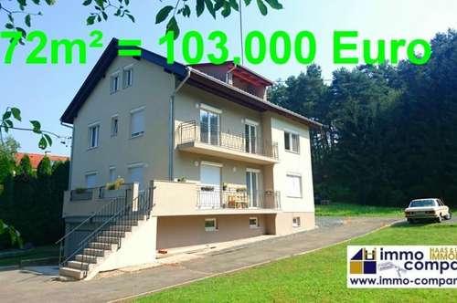 Neue, wunderschöne ETW – 72m², absolut ruhig gelegen, mit Kellerabteil und Gartenanteil - 103.000 Euro!