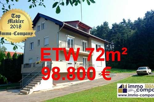 Neue, wunderschöne ETW – 72m², absolut ruhig gelegen, mit Kellerabteil und Gartenanteil - 98.800 Euro