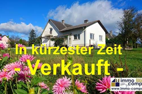 Bezirk Jennersdorf: Geräumiges Einfamilienhaus, ca. 114m² Nfl., ca. 1023m² Grund in schöner, ruhiger Stadtrandlage! Kurzinfo: 5 Zimmer, große Küche, Windfang, Teilkeller, Garage!