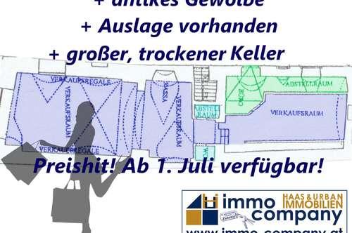 Eisenstadt - Fußgängerzone: Charmantes Geschäftslokal unbefristet zu vermieten! inkl. großzügigem Lager/Keller!!!
