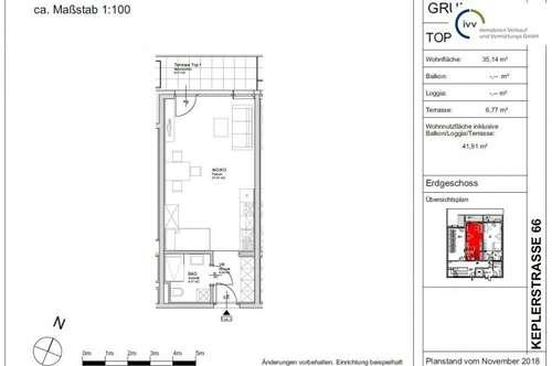 ERSTBEZUG - MIT GRÜNBLICK - PROVISIONSFREI - KEPLERSTRASSE 66: Single-Wohnung mit Terrasse - Top 1
