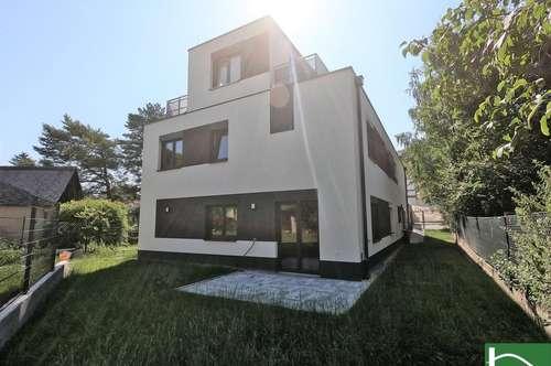 Wohnzimmer mit 45m² + 5 Zimmer - Optional + 282m² Grundstück - Nähe Donau - Traumhafter Garten und 2 sonnige Dachterrassen