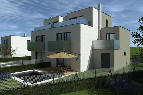 Umgeben von ganz viel Natur! Blick bis nach Tulln! Designerhaus mit Balkonen und Terrasse, inklusive Pool und Garage! Belagsfertig! Leben am Berg, Nahe der Stadt- Westeinfahrt