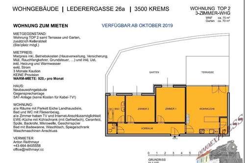 Mietwohnung samt Terrasse und Garten in Krems