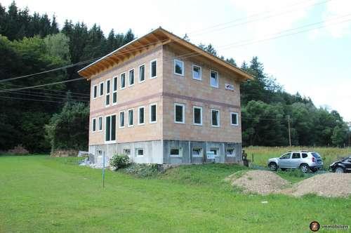 Großer, neuer Ziegelmassiv-Rohbau mit Fenstern und Eingangstüre