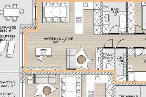 """""""GARTEN Wohnung mit ca. 19 m² Terrasse - Neubauwohnung; SCHLÜSSELFERTIG! Provisionsfrei!"""""""