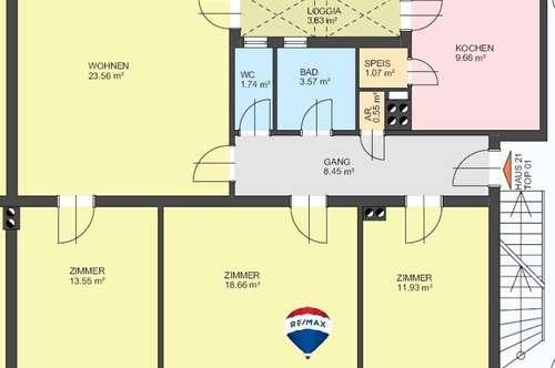 Erdgeschoss-Wohnung mit Balkon und Gartenanteil
