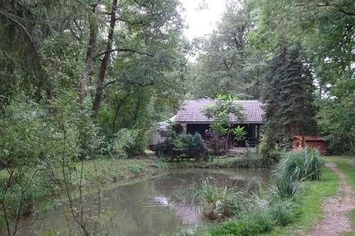 Ländlich gelegene Ferienhütte mit Teich im Süden von Graz – St. Bartholomä für Naturliebhaber