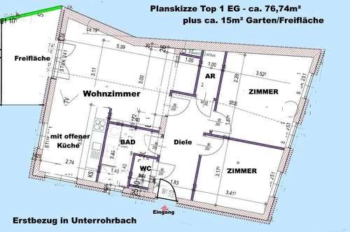 Topausstattung Erstbezug 3-Zi-Wg. bei Leobendorf EG mit Garten-Freifläche