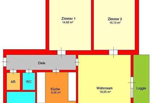 Sonnige 3 Zimmer-Wohnung mit Loggia und Parkplatz in Andritz