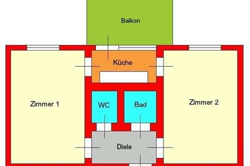 Neuwertige 2 Zimmerwohnung mit Balkon - nähe LKH