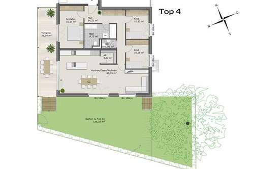 Exklusive 4-Zimmerwohnung mit Gartenanteil zur Miete!