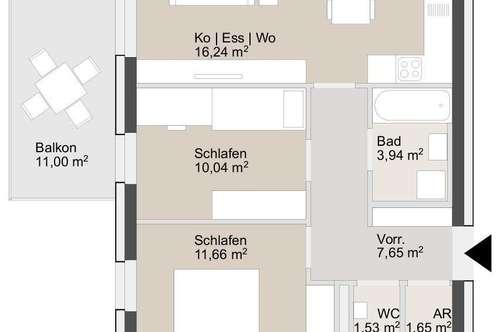 3-Zimmer Erstbezugwohnung mit Balkon & Tiefgaragenplatz ab sofort verfügbar