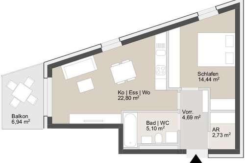 Ab sofort zu vermieten - 54m² Erstbezugswohnung mit Küche & Balkon   ausgezeichnete Anbindung und Infrastruktur