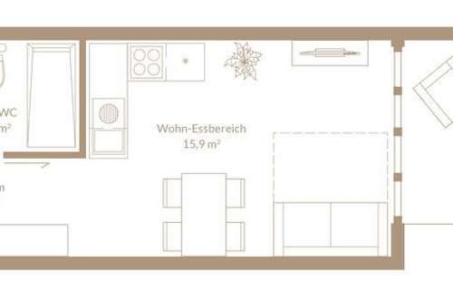 24,2 m²---Mikroloft---mit Terrasse 8,8m²---provisionsfrei für Käufer—Top A3