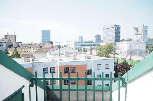 Entzückende Garconniere mit Dachterrasse und gigantischem Fernblick, nähe Musiktheater, 28 m² WNFL, Küche möbliert, 5. OG
