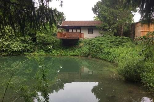 Freizeitparadies - Badeteich mit Gartenhaus und Terrasse in der Gemeinde Golling an der Erlauf!