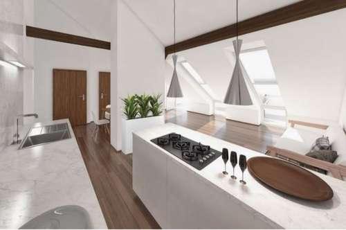 Projektierter und bereits genehmigter Rohdachboden zur Schaffung von zwei exklusiven Penthouse-Wohnungen